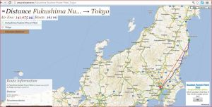 Capture Fukushima to Tokyo Distance map