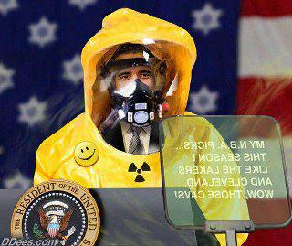 prez in hazmat suit and happy faces