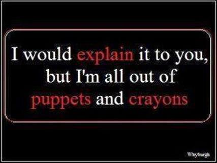 crayons and puppets