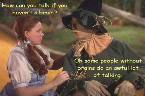 talk without a brain scarecrow of oz
