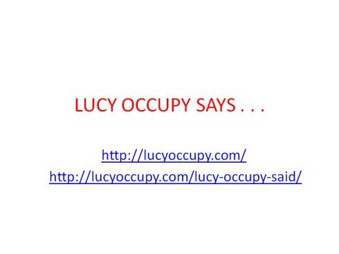 lucy occupy says