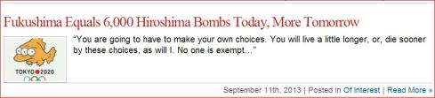 Fukushima Equal 6000 Hiroshima Bombs Today MORE TOMORROW