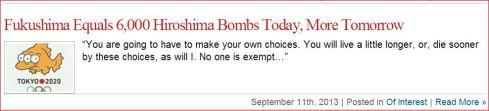Fukushima Equal 6000 Hiroshima Bombs Today MORE TOMORROW