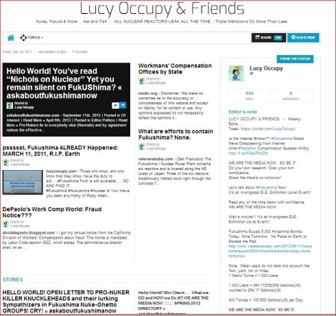 Lucy Occupy and Friends   12 20 13   Fukushima Nukes WorkComp Fraud and More