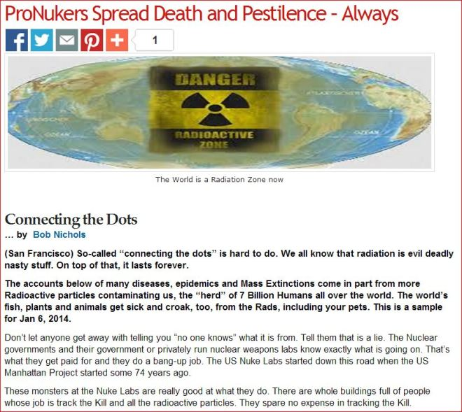 Connecting the Dots   ProNukers Spread Death and Pestilence  - Always