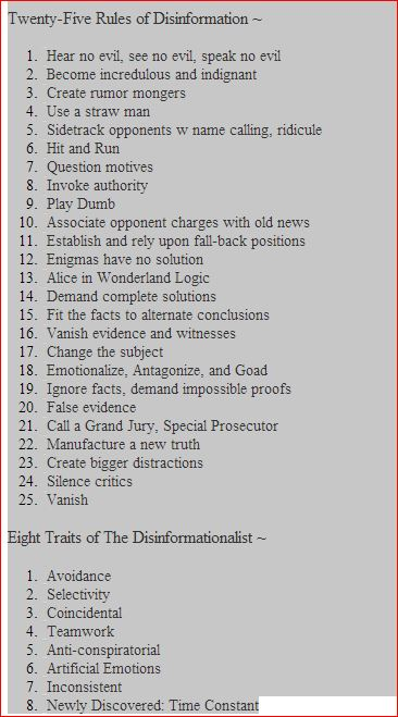 25 rules of disinformation  summary