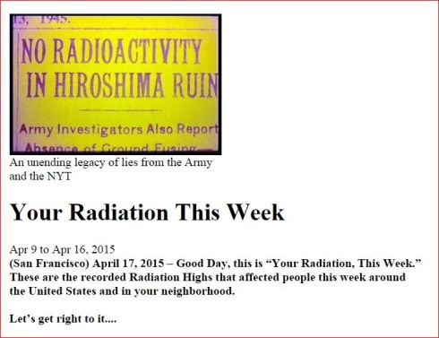 Your Radiation This Week   April 17 2015