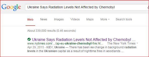 Ukraine  Radiation and Chernobyl Fires  5 25 2015  NYT