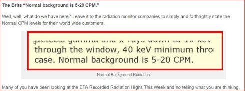 NORMAL BACKGROUND RADIATION LEVELS