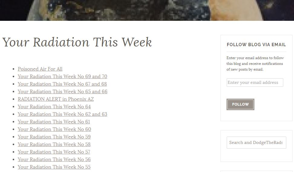 FOLLOW BLOG VIA EMAIL YOUR RADIATION THIS WEEK DOT ORG DODGE THE RADS WE ARE THE MEDIA NOW